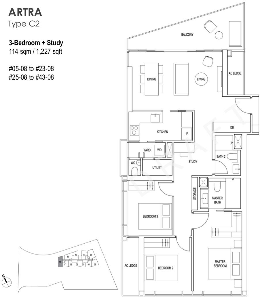 Artra Condo Floor Plan 3BR + Study Type C2
