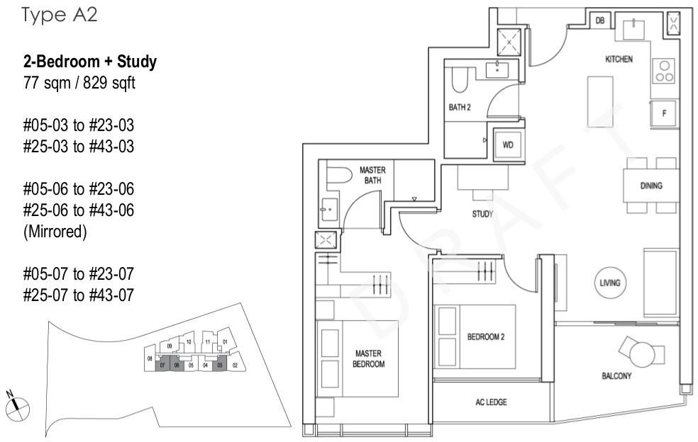 Artra Floor Plan 2BR + Study Type A2