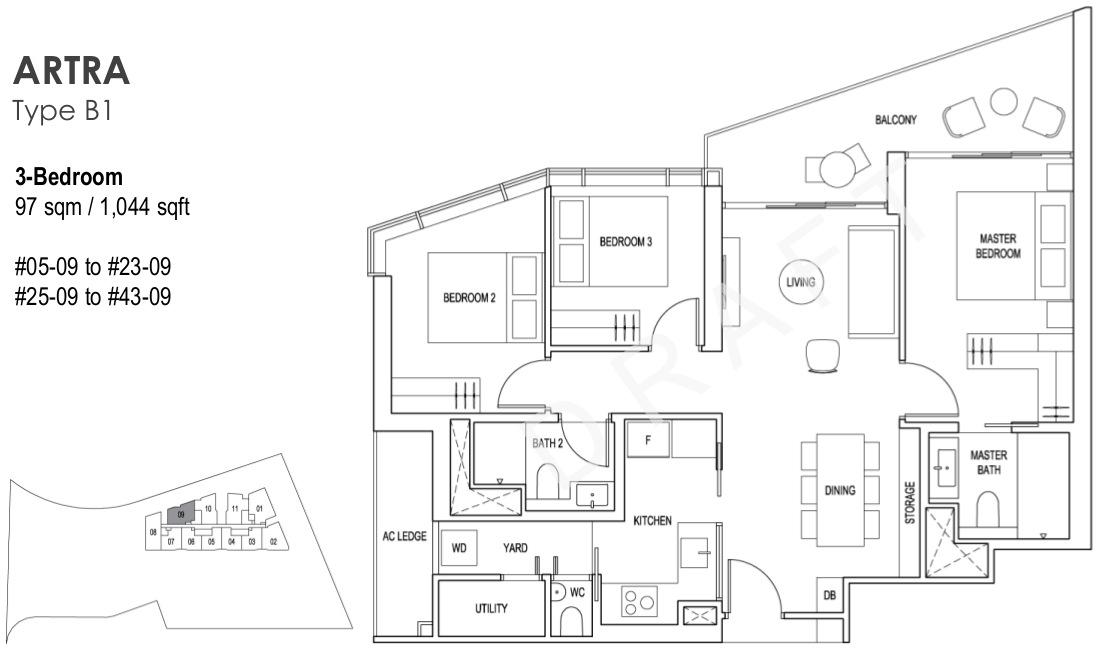 Artra Floor Plans 3 Bedroom Type B1